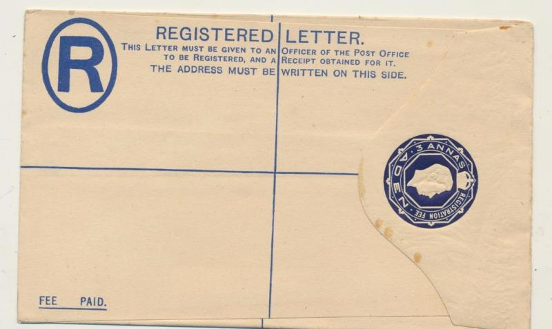 ADEN GV1 3As REGISTERED ENVELOPE, UNUSED, H&G C1