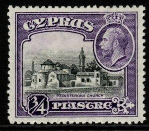 CYPRUS SG135 1934 ¾pi BLACK & VIOLET MTD MINT
