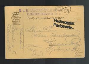 1915 Austria Feldpost KuK Postcard Cover Luftahrtruppen 8 Air Force Luftwaffe