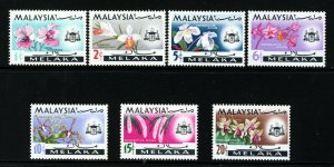 MALACCA MALAYSIA QE II 1965-68 The Complete Flowers Set SG 61 to SG 67 MINT