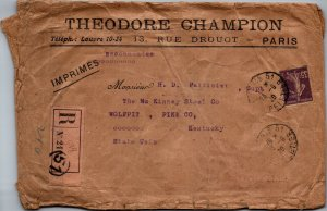 Theodore Champion Paris France > McKinney Steel Wolf Pit KY USA 1920 registered