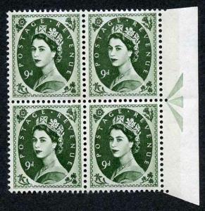 S128c 9d Bronze Green Crowns Wmk U/M Arrow Block 4 Violet Phosphor