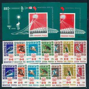 Hungary - Montreal Olympic Games MNH Perf+Imperf Set #2424-2430 (1976)