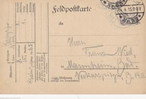 TRUPPENUBUNGSPLATZ HAMMELBURG ,FIELD POST BRIEFE ,  BAYERN 1914 - 1918,    P42