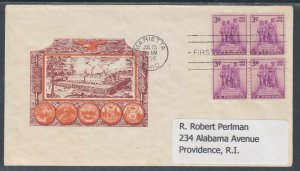 US Planty 837-31 FDC. 1938 3c Northwest Territory Block, Cachet Craft