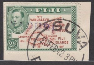 FIJI 1942 GVI 2½d on piece straight line NADURI cancel......................L537