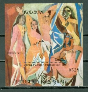 PARAGUAY PICASSO 1973 #1529...OVPT  MUESTRA...SOUV. SHEET...MNH...