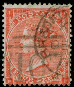 SG82, 4d pale red plate 4, USED, CDS. Cat £150. HAIRLINES. PI.