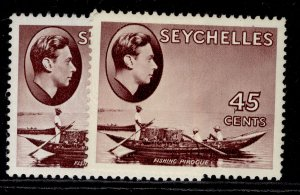 SEYCHELLES GVI SG143a + 143b, 45c PAPER VARIETIES, M MINT. Cat £58.