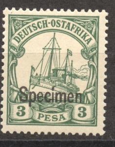 SPECIMEN Overprint on German East Africa 3 Pesa Yacht, MLH