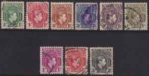 Nigeria, King George VI short set, Sc 53, 54, 55, 58, 60, 61, 65, 66, 67 Used