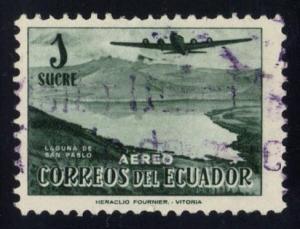 Ecuador #C267 Plane over San Pablo Lagoon, used (0.25)