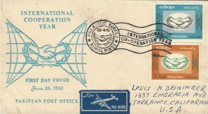 Pakistan  215-6  FDC  International Cooperation Year  1965
