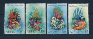 [49314] Nevis 1983 Marine life Fish Corals Overprint specimen MNH