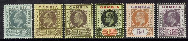 GAMBIA 1909 KEVII NEW COLOURS RANGE TO 6D PLUS 3D SHADE WMK MULTI CROWN CA