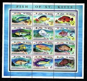 St. Kitts-Sc#422- id7-unsed NH sheet-Fish-Marine Life-1997-