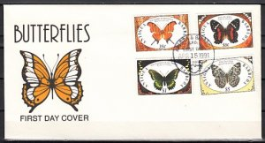 Antigua, Scott cat. 1402-03, 05, 08. Butterflies Part 1. First day cover. ^