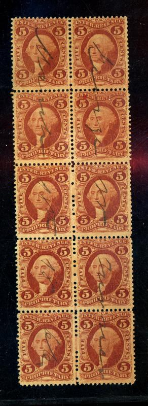 R29c Used Rare Block of 10 F-VF Cat$500+