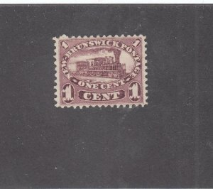 NEW BRUNSWICK # 6 VF-MNG 1cts 1860 LOCOMOTIVE /RED LILAC /CENTS ISSUE CV $60