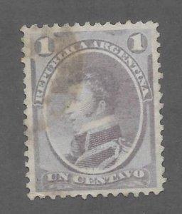 Argentina Scott #22 Used 1c Gen. Antonio G, Balcarce Stamp 2017 CV $2.29