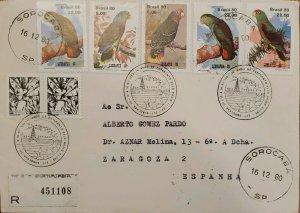 A) 1980, BRAZIL, PARROTS, BRAZILIAN AMAZON, VINACEOUS PARROT, COTORRITA DORSINEG