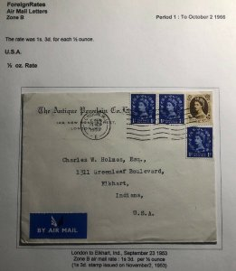 1953 London England Antique porcelain Airmail Cover To Elkhart Usa