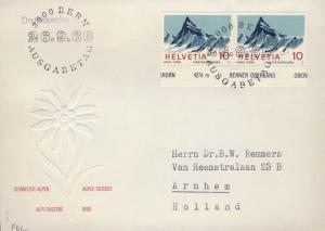 SUISSE / SWITZERLAND / SCHWEIZ 1966 Mi.842 x2 Swiss Alps Finsteraarhorn on FDC