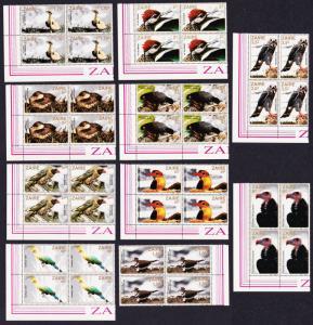 Zaire Birds 10v Blocks of 4 T3 SG#1133-1142 MI#792-801 SC#1091-1100