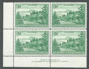 NORFOLK IS 1947-59 Ball Bay 3d green imprint block of 4 MNH................64968