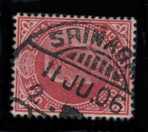INDIA - 1906 -  SRINAGAR  CDS on SG123 1a Carmine