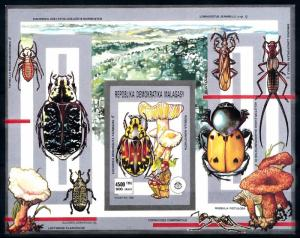 [95938] Madagascar Malagasy 1991 Insects Beetles Mushrooms Imperf. Sheet MNH