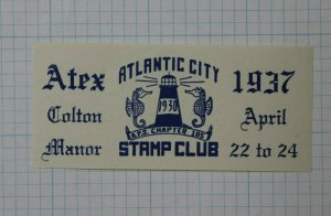 Atex 1937 Atlantic City NJ Stamp Club Event Label Souvenir Ad