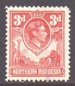 Northern Rhodesia Scott 35 - SG35, 1938 George VI 3d Red used