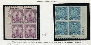 US #718-719 1932 OLYMPIC GAMES PLATE # BLOCKS OF 4-  MINT NEVER HINGED