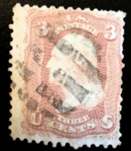 64b Washington, 1861, Rose, no grill, Vic's Stamp Stash