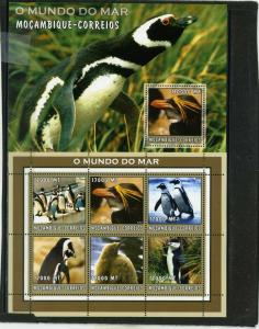 MOZAMBIQUE 2002 Sc#1660,1680 MARINE LIFE/PENGUINS SHEET OF 6 STAMPS & S/S MNH
