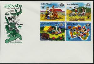Grenada 1638-47 on FDC's - Disney, Sydpex, Animals, Map, Kangaroo, Koala