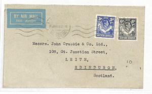 Northern Rhodesia 9d Rate Airmail Edinburgh Cover {samwells-covers} 1949 DD201