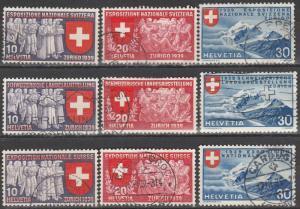 Switzerland #247-55   F-VF Used  CV $22.00 (S1539)