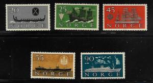 NORWAY 382-386 MNH SHIPS SET OF 5 1960
