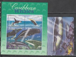 St Kitts 2002 whales marine life klb+s/s MNH