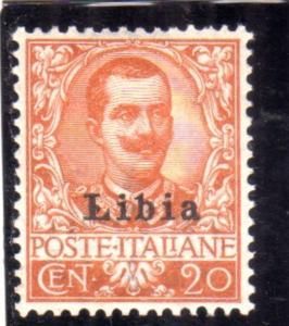 LIBIA 1912 - 1915 SOPRASTAMPATO D'ITALIA ITALY OVERPRINTED CENT. 20c MLH BEN ...