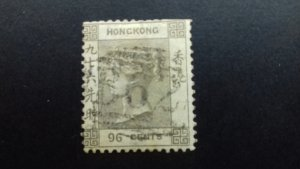 Hong Kong  Queen Victoria  96 cents Used
