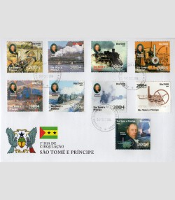 Sao Tome & Principe 2004 Steam Trains set Perforated in official FDC