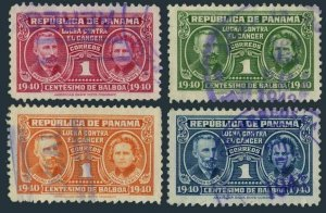 Panama RA6-RA9,used.Michel Zw 6-9.Postal Tax stamps 1941.Pierre & Marie Curie.