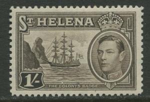 St.Helena - Scott 124 - KGVI Definitive -1938 - MVLH - Single 1/- Stamp