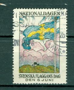 Sweden Poster Stamp 1926. National Day June 6. Cancel. Swedish Flag.