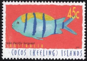 Cocos Islands 335d - Used - 45c Indo-Pacific Sergeant (2001) (cv $0.90)