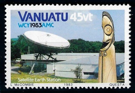 [65053] Vanuatu 1983 Space Travel Weltraum Earth Station From Set MNH
