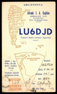 QSL QSO RADIO CARD Map of Argentina,Alfredo Coghlan,LU6DJD, (Q2960)